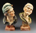 Decorative Arts, British:Other , Two Bretby Art Pottery Glazed Ceramic Peasant Busts. Early 20th century. Stamped (sun), BRETBY, ENGLAND, (various). Ht. ... (Total: 2 Items)