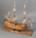 General Americana, A Large Three-Masted Wooden Model of the Wappen von HamburgWarship by Ben Progosh, 20th century. 42 x 42 x 19 i...