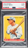 Baseball Cards:Singles (1930-1939), 1933 Goudey Charley Berry #184 PSA Mint 9 - Pop One, None Higher!...