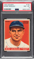 Baseball Cards:Singles (1930-1939), 1933 Goudey Heinie Manush #187 PSA NM-MT 8 - Only Two Higher. ...