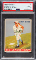 Baseball Cards:Singles (1930-1939), 1933 Goudey Jimmy Dykes #6 (Age 36) PSA Mint 9 - Pop One, NoneHigher! ...