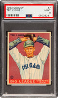 Baseball Cards:Singles (1930-1939), 1933 Goudey Ted Lyons #7 PSA Mint 9 - Pop Two, None Higher! ...