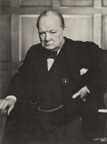 Photographs, Yousuf Karsh (Canadian, 1908-2002). Winston Churchill, 1941.Gelatin silver, printed later. 4-1/2 x 3-1/2 inches (11.4 x...