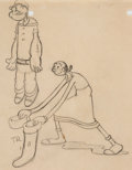 Animation Art:Production Drawing, Dizzy Divers Popeye and Olive Oyl Animation Drawing (MaxFleischer, 1935). ...