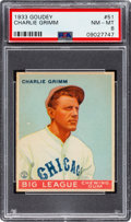 Baseball Cards:Singles (1930-1939), 1933 Goudey Charlie Grimm #51 PSA NM-MT 8 - None Higher! ...