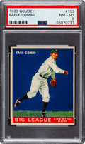 Baseball Cards:Singles (1930-1939), 1933 Goudey Earle Combs #103 PSA NM-MT 8 - Only One Higher. ...