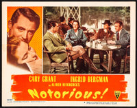 """Notorious (RKO, 1946). Very Fine-. Lobby Card (11"""" X 14""""). Hitchcock. From the Collection of Frank Buxton, of..."""