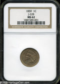 Patterns: , 1859 P1C Indian Cent, Judd-228, Pollock-272, R.1, MS62 NGC....