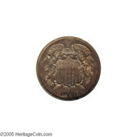 1864 2C Two Cents, Judd-371, Pollock-440, Low R.6, PR64 NGC. Struck from the regular coinage dies with Large Motto in co...