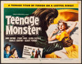 "Movie Posters:Horror, Teenage Monster (Howco, 1957) Folded, Very Fine-. Half Sheet (22"" X28""). Horror...."