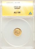 1922 G$1 Grant Gold Dollar, No Star, AU58 ANACS. CDN: $800 Whsle. Bid for problem-free NGC/PCGS AU58. Mintage 5,000