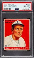 Baseball Cards:Singles (1930-1939), 1933 Goudey Cliff Heathcote #115 PSA NM-MT 8 - Only One Higher. ...