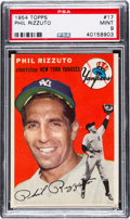 Baseball Cards:Singles (1950-1959), 1954 Topps Phil Rizzuto #17 PSA Mint 9 - None Higher....