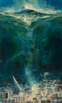 John Conrad Berkey (American, 1932-2008) Tsunami paperback cover, 1984 Acrylic and casein on board
