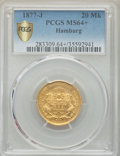 German States:Hamburg, German States: Hamburg. Free City gold 20 Mark 1877-J MS64+ PCGS,...