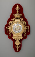 Timepieces:Clocks, A Continental Gilt Bronze Cartel Clock on Red Velvet Mount, late 19th century. 22 x 12 x 5-1/2 inches (55.9 x 30.5 x 14.0 cm...