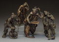 Decorative Arts, Continental, A Group of Four Italian Partial Gilt Patinated Bronze ClownFigures, 20th century . Marks to tallest: ANGINI. 8 inches(... (Total: 4 Items)