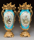 Ceramics & Porcelain, A Pair of Sevres-Style Gilt Bronze Mounted Porcelain Vases, circa 1860. 19-1/2 x 8-3/4 x 6 inches (49.5 x 22.2 x 15.2 cm). ... (Total: 2 Items)