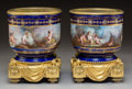 Ceramics & Porcelain, A Pair of Sèvres-Style Jeweled and Gilt Bronze-Mounted Porcelain Cache Pots, circa 1870. 9-5/8 x 7-5/8 x 7-5/8 inches (24.4 ... (Total: 2 Items)