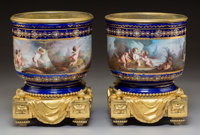 A Pair of Sèvres-Style Jeweled and Gilt Bronze-Mounted Porcelain Cache Pots, circa 1870 9-5/8 x 7-5/8 x 7-5/8 inc...