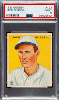 Baseball Cards:Singles (1930-1939), 1933 Goudey Jack Russell #123 PSA Mint 9 - Pop Four, None Higher! ...