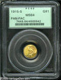 Commemorative Gold: , 1915-S G$1 Panama-Pacific Gold Dollar MS64 PCGS....