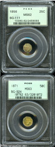 California Fractional Gold: , 1856 25C Liberty Octagonal 25 Cents, BG-111, R.3, MS62 PCGS,... (2coins)