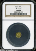 California Fractional Gold: , Undated 25C Liberty Round 25 Cents, BG-222, R.2, MS63 NGC....