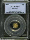 California Fractional Gold: , 1854 50C Liberty Octagonal 50 Cents, BG-306, R.4, MS65 PCGS....