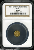 California Fractional Gold: , 1853 50C Liberty Round 50 Cents, BG-417, High R.5, MS62 NGC....