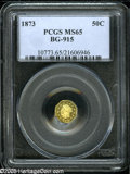 California Fractional Gold: , 1873 50C Liberty Octagonal 50 Cents, BG-915, Low R.4, MS65 PCGS....