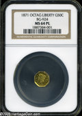 California Fractional Gold: , 1871 50C Liberty Octagonal 50 Cents, BG-924, R.3, MS64 ProoflikeNGC....