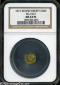 California Fractional Gold: , 1871 50C Liberty Round 50 Cents, BG-1027, R.3, MS63 NGC....