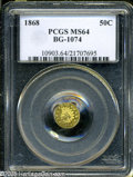 California Fractional Gold: , 1868 50C Indian Round 50 Cents, BG-1074, R.6, MS64 PCGS....