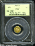 California Fractional Gold: , 1871 $1 Liberty Octagonal 1 Dollar, BG-1104, High R.4, MS62PCGS....