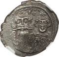 Ancients:Byzantine, Ancients: Constans II Pogonatus, with Constantine IV, Heraclius,and Tiberius (AD 641-668). AR hexagram (24mm, 6.53 gm, 6h). NGC MS3/5 ...