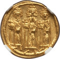 Ancients:Byzantine, Ancients: Heraclius (AD 610-641), with Heraclius Constantine andHeraclonas. AV solidus (19mm, 4.49 gm, 6h). NGC MS 5/5 - 4/5....
