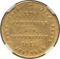 "German States:Hamburg, German States: Hamburg. Free City gold ""300th Anniversary of the Reformation"" Ducat 1817 MS61 NGC, ..."