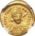 Ancients:Byzantine, Ancients: Justinian I the Great (AD 527-565). AV solidus (20mm,4.46 gm, 6h). NGC AU 5/5 - 3/5, ex-jewelry, edge bend....