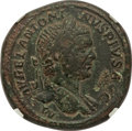 Ancients:Roman Imperial, Ancients: Caracalla (AD 198-217). AE sestertius (33mm, 23.25 gm,6h). NGC Choice Fine 5/5 - 2/5.. ...