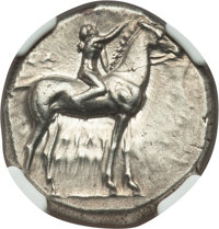 Ancients: CALABRIA. Tarentum. Ca. 302-281 BC. AR stater or didrachm (21mm, 7.89 gm, 6h). NGC AU 4/5 - 3/5