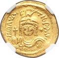 Ancients:Byzantine, Ancients: Maurice Tiberius (AD 582-602). AV solidus (23mm, 4.32 gm,7h). NGC Choice XF 4/5 - 4/5....