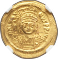 Ancients:Byzantine, Ancients: Justin II (AD 565-578). AV solidus (20mm, 4.39 gm, 6h).NGC MS 5/5 - 2/5, scuffs....