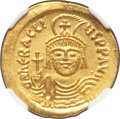 Ancients:Byzantine, Ancients: Heraclius (AD 610-641). AV solidus (22mm, 4.51 gm,7h). NGC MS 5/5 - 5/5....