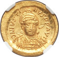 Ancients:Byzantine, Ancients: Justin I (AD 518-527). AV solidus (22mm, 4.46 gm,6h). NGC MS 5/5 - 4/5....