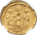 Ancients:Byzantine, Ancients: Heraclius (AD 610-641), with Heraclius Constantine andHeraclonas. AV solidus (21mm, 4.44 gm, 7h). NGC MS 4/5 - 4/5.. ...