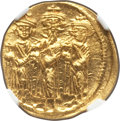 Ancients:Byzantine, Ancients: Heraclius (AD 610-641), with Heraclius Constantine andHeraclonas. AV solidus (20mm, 4.40 gm, 5h). NGC MS 4/5 - 4/5.. ...