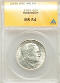 Commemorative Silver, 1936 50C Robinson MS64 ANACS. NGC Census: (1219/1077). PCGS Population: (2023/1816). CDN: $125 Whsle. Bid for problem-free ...