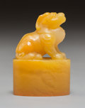 Carvings, A Chinese Carved Tianhuang Figural Seal. 1-3/4 x 1-1/8 x 7/8 inches (4.4 x 2.9 x 2.2 cm). ...