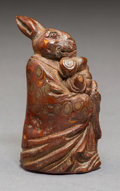 Carvings, A Chinese Carved Bamboo Figural Rabbit Seal. 2-1/2 x 1-1/4 x 1-5/8 inches (6.4 x 3.2 x 4.1 cm). ...